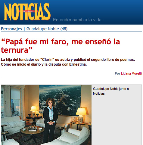 Reportaje a Guadalupe Noble para Revista Noticias